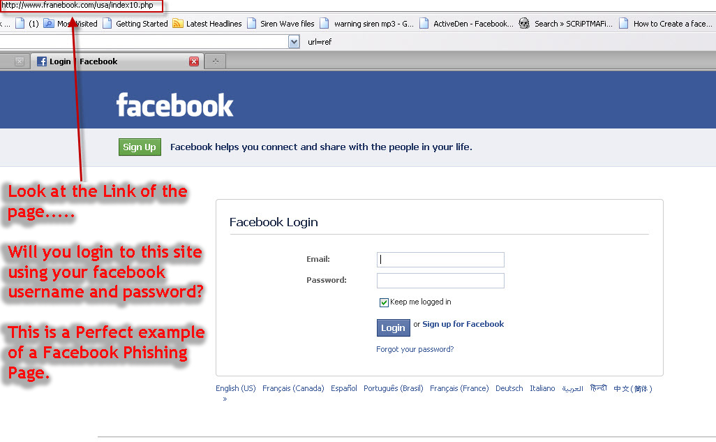 facebook fake login pagefake script