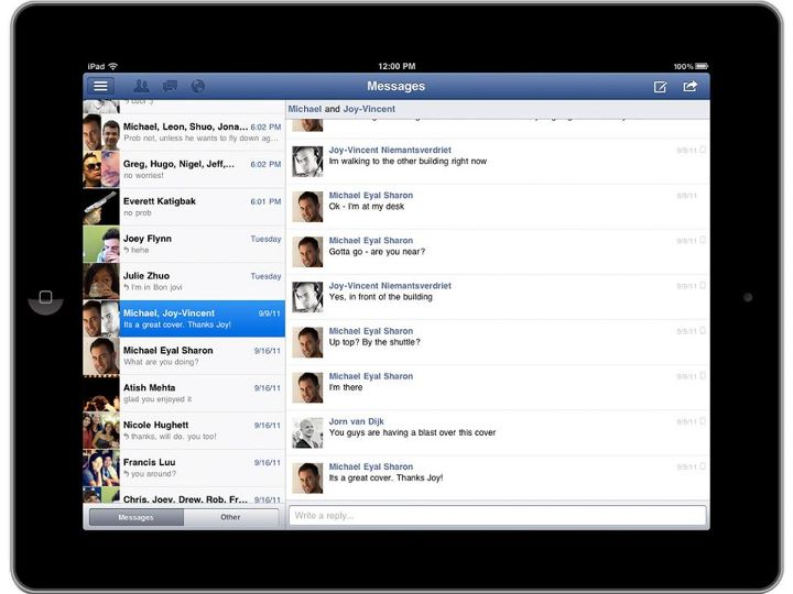 facebook ipad app messages