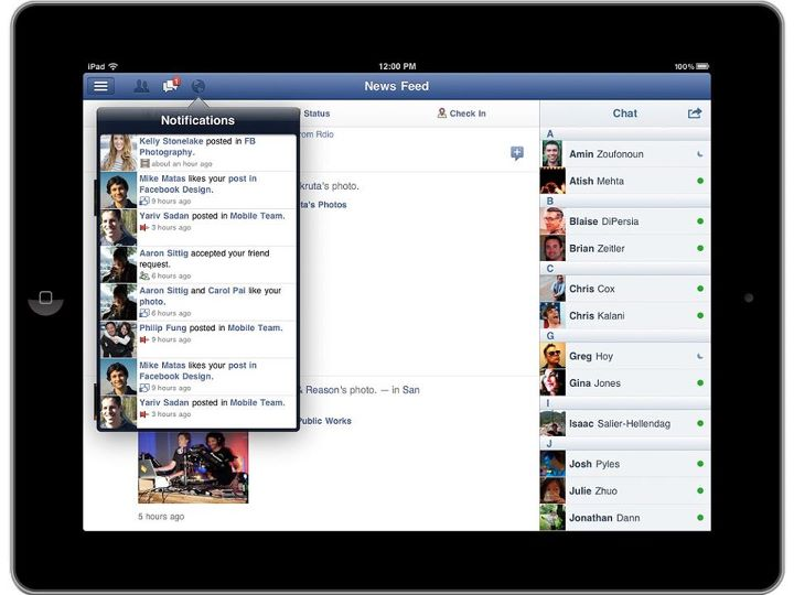 facebook ipad app notifications