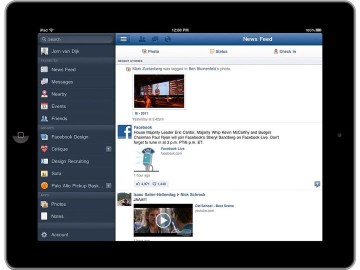 facebook ipad app ui