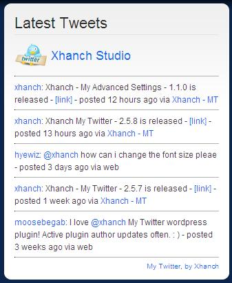 xhanch -my twitter wordpress plugin for twitter
