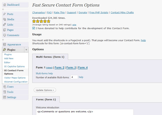 Fast Secure Contact Form for wordpress form management