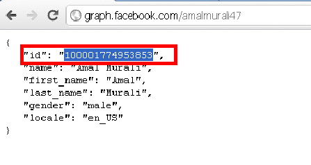 find profile id of a user using facebook open graph