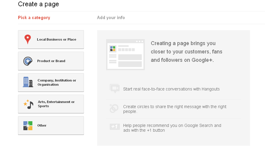 how to Create a page on Google plus for your business