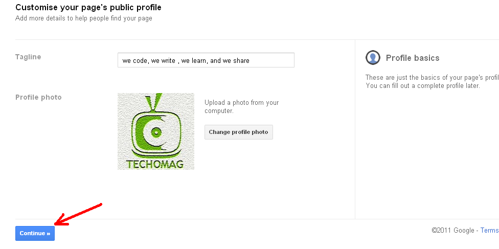 Customise your Google plus page Public Profile with profile pic and tagline