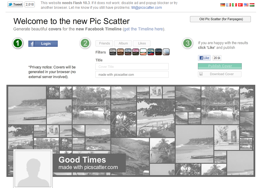 Pic Scatter : generate cool facebook cover's from your photo album