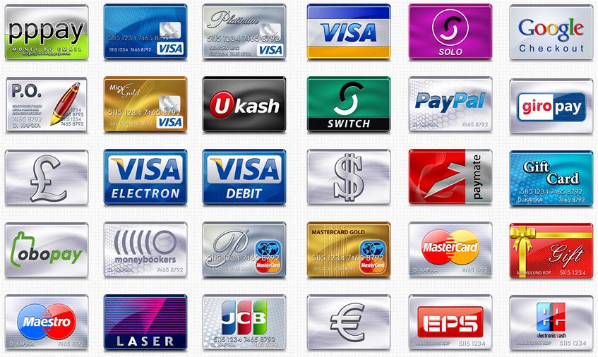 free-credit-card or virtual credit card for paypal account icons