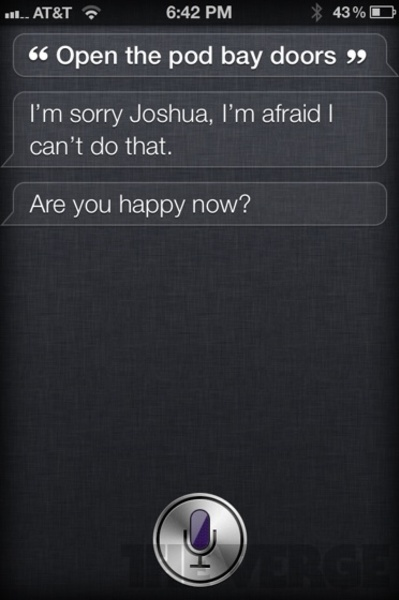 Funny cool reply by Siri Apple iphine4s app - image screenshot