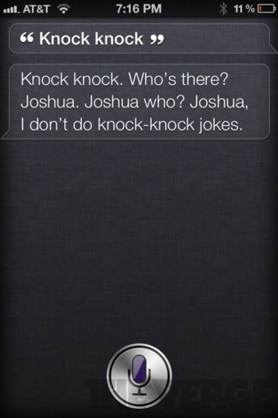 """Funny Reply by Siri Application for the question """"Knock knock"""""""