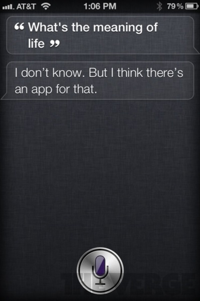 """Cool reply by siri iPhone app for the question """"what is the meaning of life"""""""