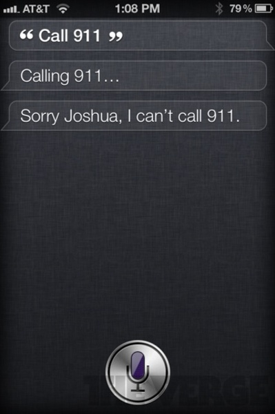 """Funny reply by iPhone 4S app Siri on """"call 911"""""""