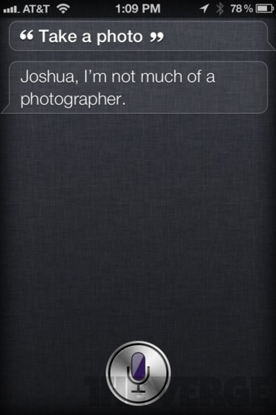 Funny and smart reply by Siri app by apple - take photo