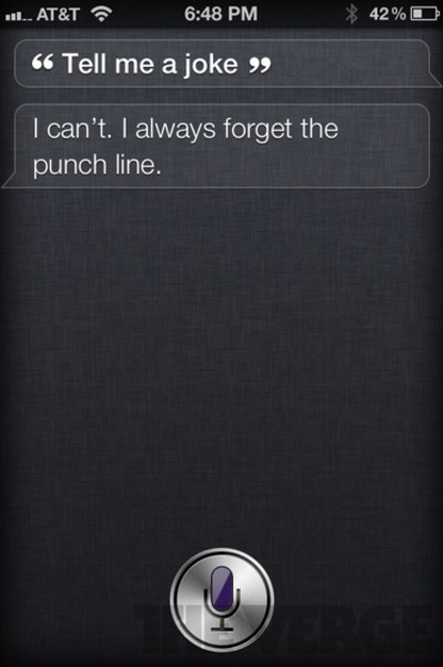 """""""tell me a joke"""" - Funny reply by Siri iPhone 4S app"""