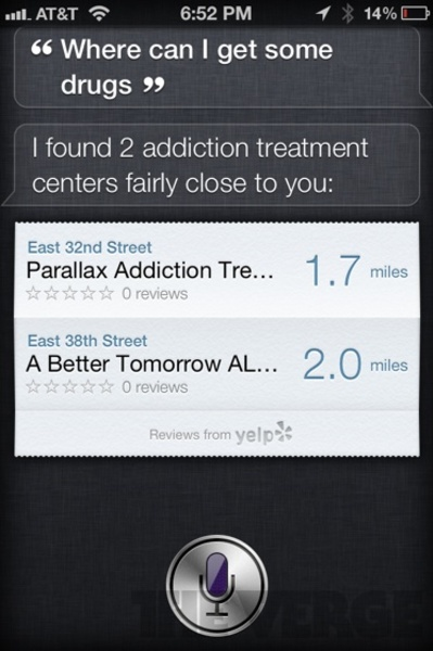 """Siri Funny weird Reply on the question """"where can i get some drugs"""""""