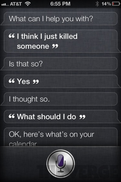 """Siri iPhone 4S application Funny Reply to the question """"I think I just killed someone"""""""