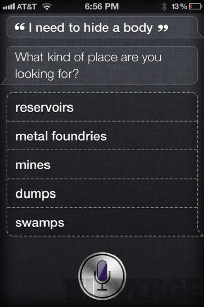 """Funny reply from Siri on the qurestion """"I need to hide a body"""""""