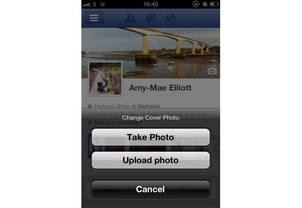 Easily Update Your Cover Photo on one Go using facebook's new iphone 4S app