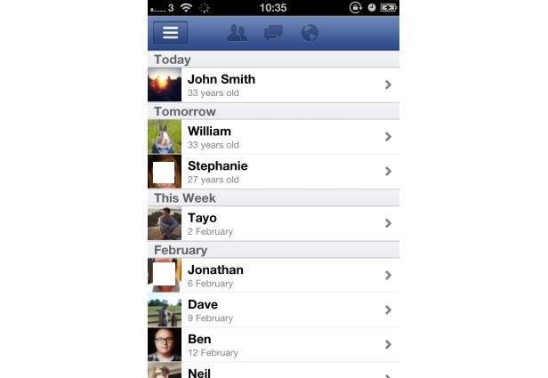 Know your Friends' Birthdays - Using facebook App for iphone 4S