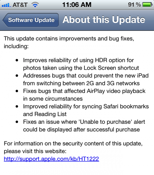Apple Fixes many Bugs in its iOS 5.1.1 release