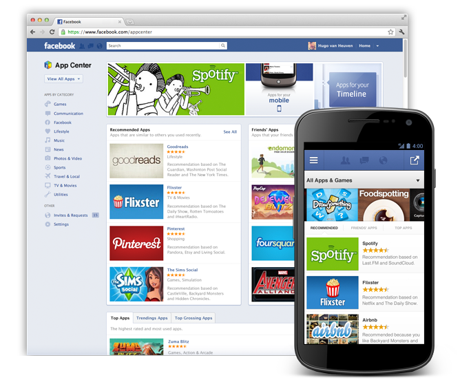 facebook app center for mobile and web