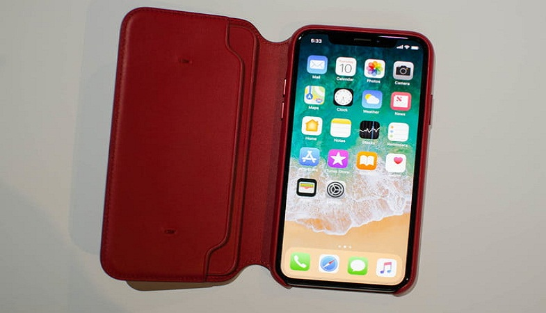 iPhone X red leather folio case